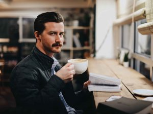 Manly Man Drinking Gourmet Coffee